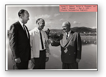 District general manager Harry T. Baker and director Ralph W. Chapman are pictured with La Presa Municipal Water District president, Fred J. Hansen, at what is now Santee Lakes.
